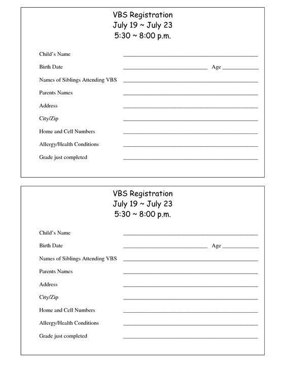 Printable VBS Registration Form Template Vbs Pinterest - customer registration form sample