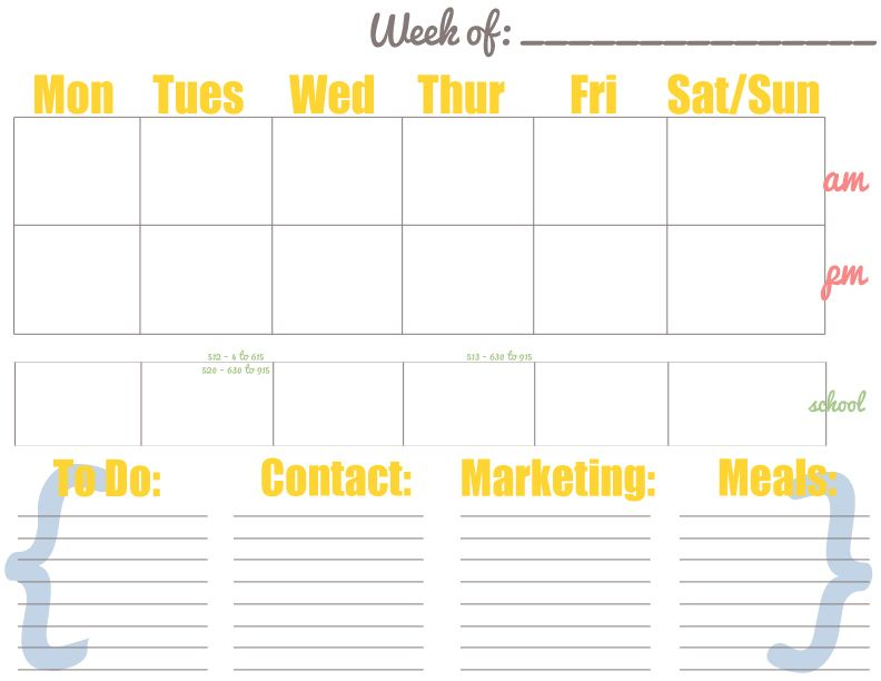 Free Weekly Calendar - PDF and PSD free to download\/customize - free weekly calendar template
