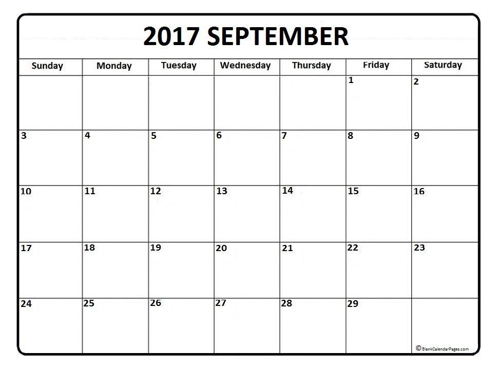 September calendar 2017 printable and free blank calendar - free printable calendar