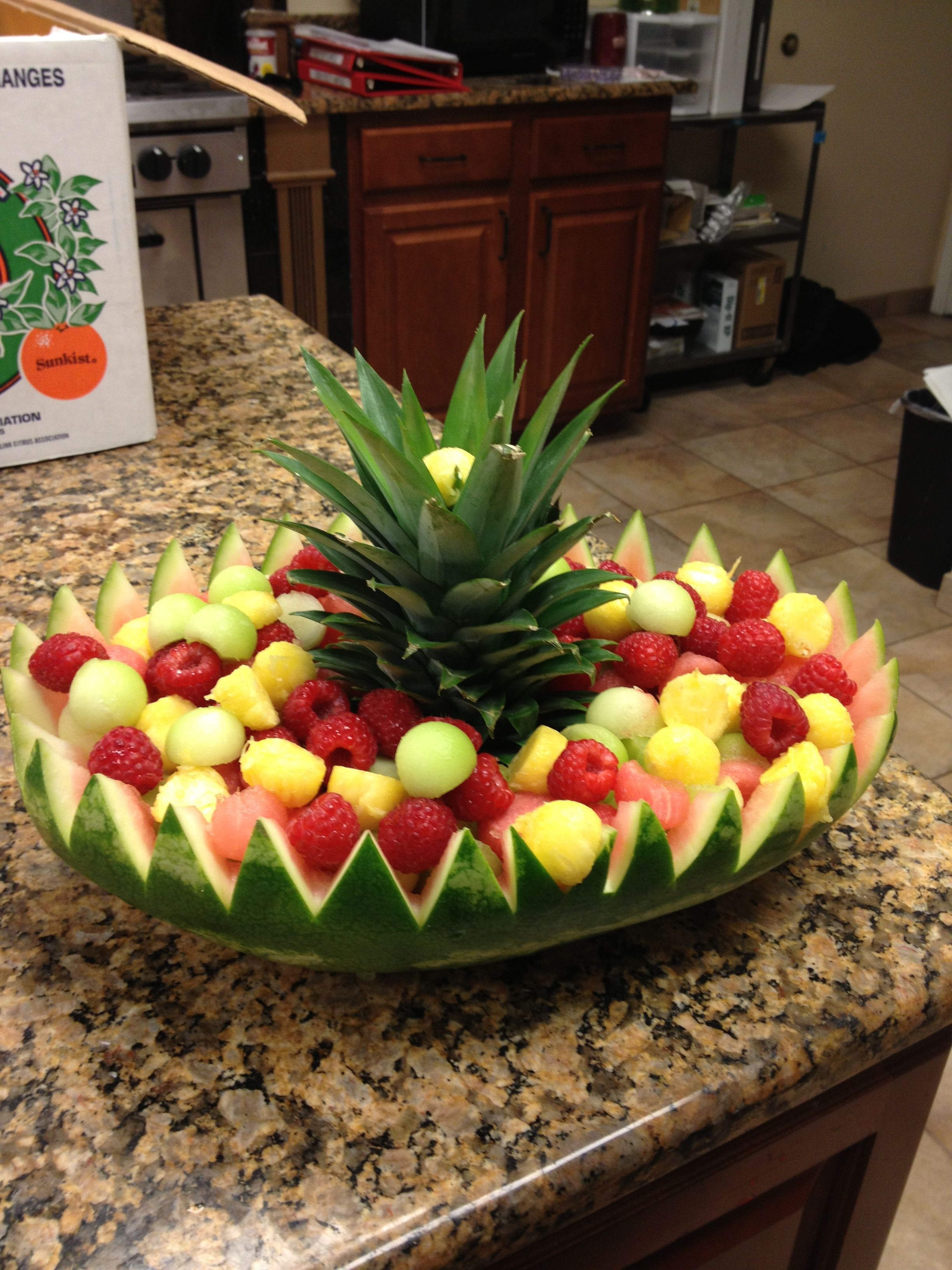Designer Fruit Basket Watermelon Basket I Did Work Culinary Work Pinterest