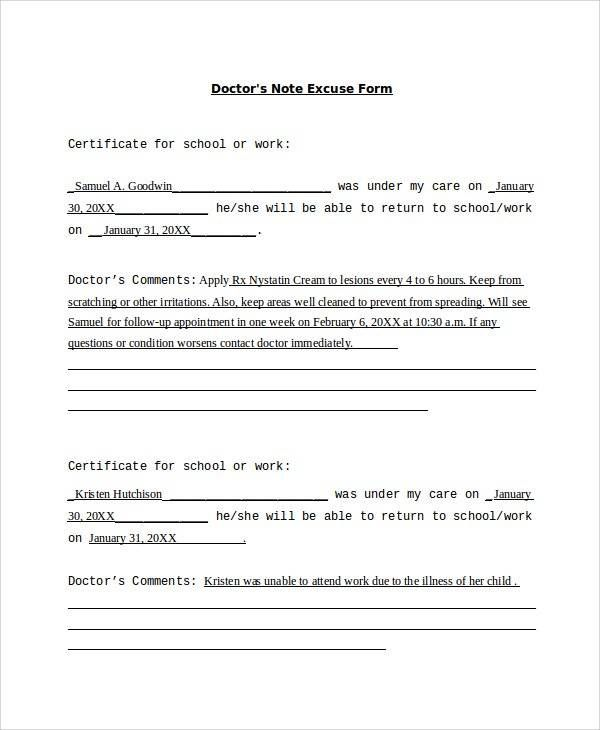 Sample Doctor Note - 24+ Free Documents in PDF, Word Homes - doctors note template
