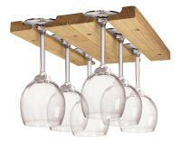 Wine Glass Holder Display Hanging Bar Shelf Wooden Under ...