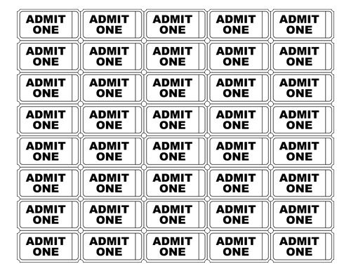 Free Printable Admit One Ticket Templates School Days - free ticket template printable