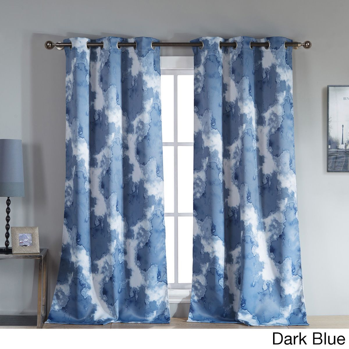 Dark Blue And Grey Curtains Duck River Grommet Top Thermal Insulated Blackout Curtain Panel