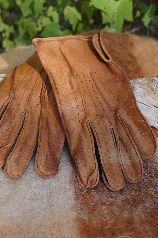 Vintage mens kid leather driving gloves boyce lazarus driving gloves 40s 50s mens kid