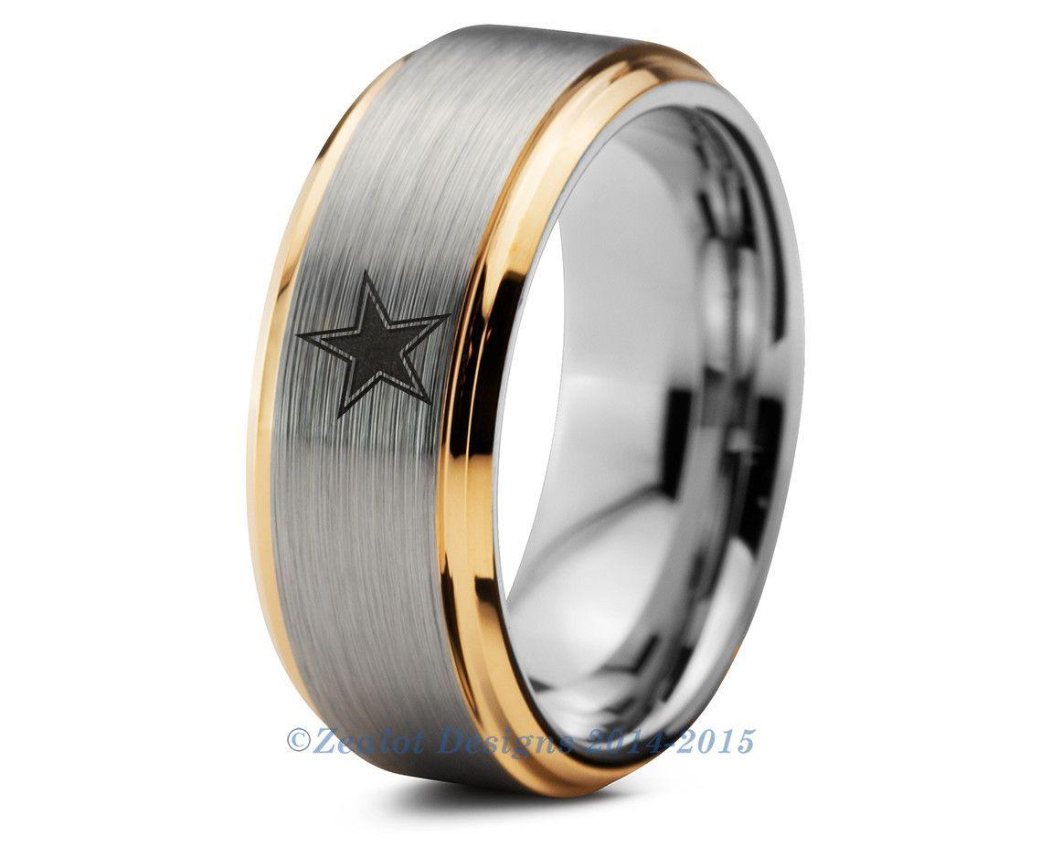 sports wedding bands Dallas Cowboys Tungsten Wedding Band Ring Mens Womens Beveled Yellow Gold NFL Sports Fan Texas Anniversary