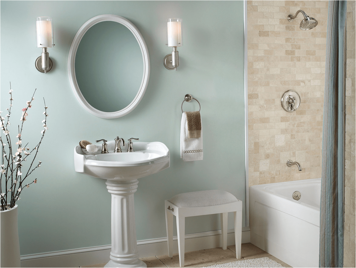 English country bathroom design idea wythe blue walls with white pedestal
