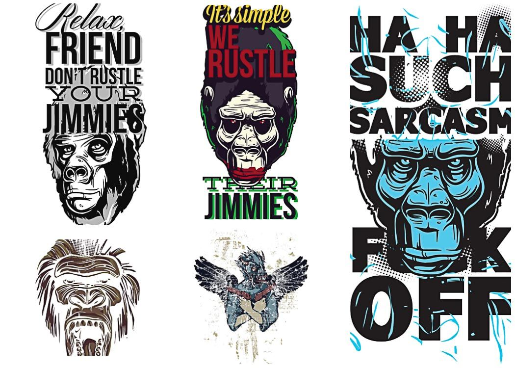 T shirt prints with angry apes set vector