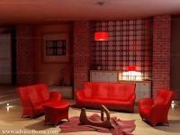 fire red living room with red sofa set design | Sofa Set ...