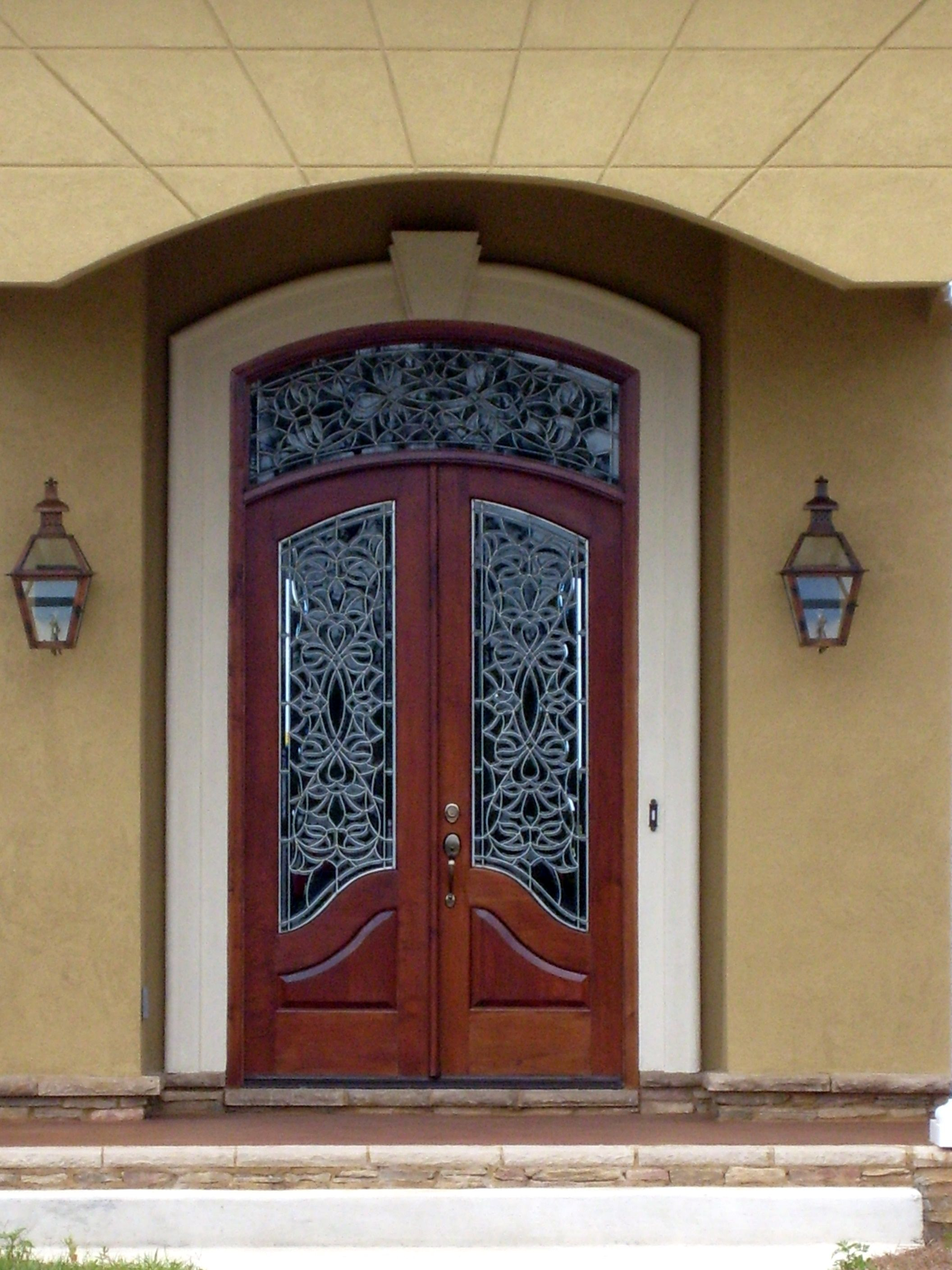Beautiful Doors For Homes Beautiful Custom Wood Door With Leaded Glass Windows And