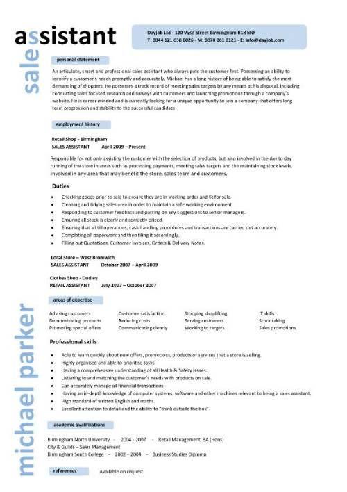 Retail CV template, sales environment, sales assistant CV, shop - resume examples retail