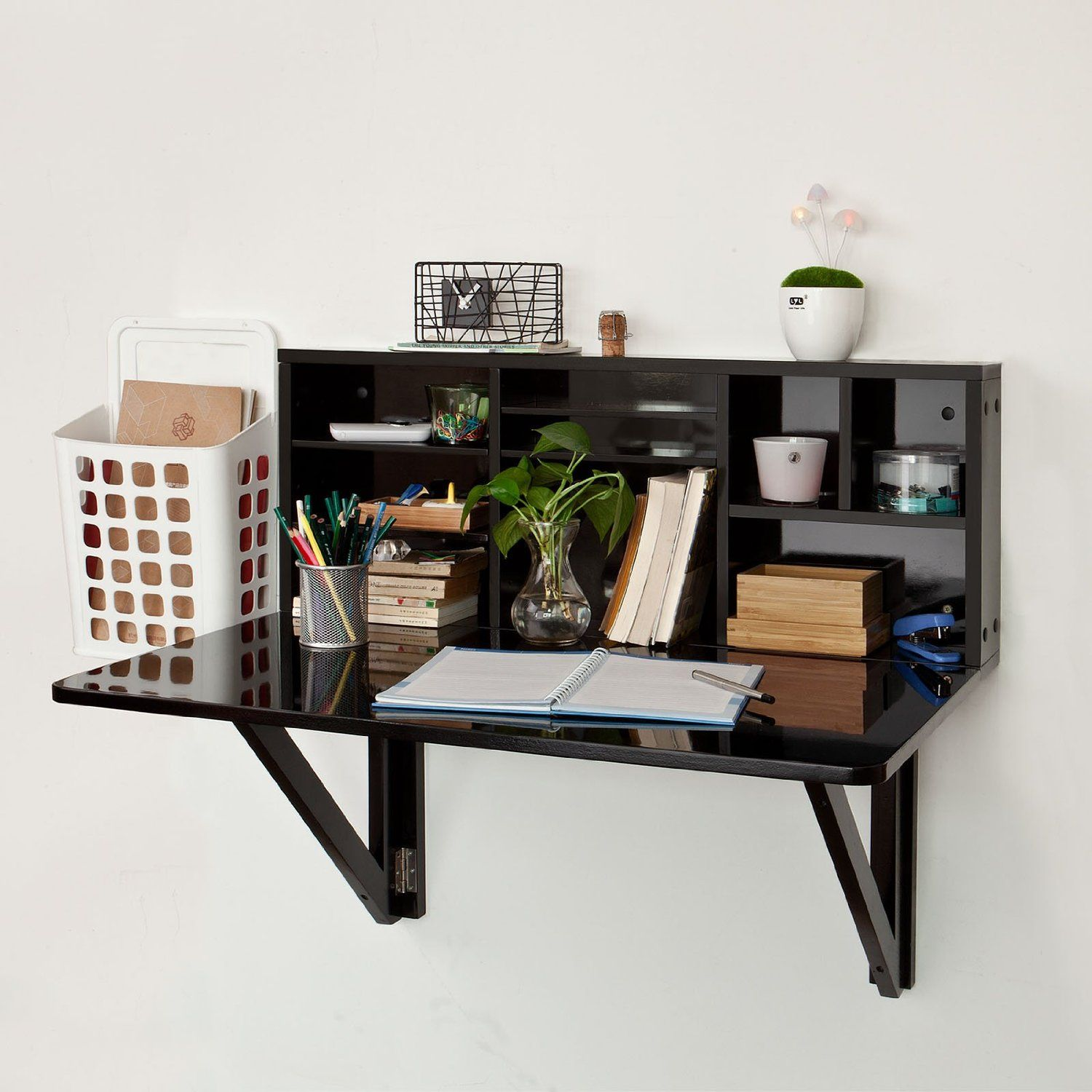 Furniture Black Wood Wall Mounted Fold Up Desk With