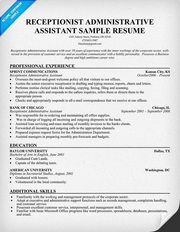 Sample Resume Receptionist Administrative Assistant - Sample - administrative assistant resume templates