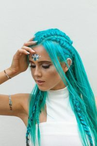 Beautiful teal blue hair with braids and fairy like ...