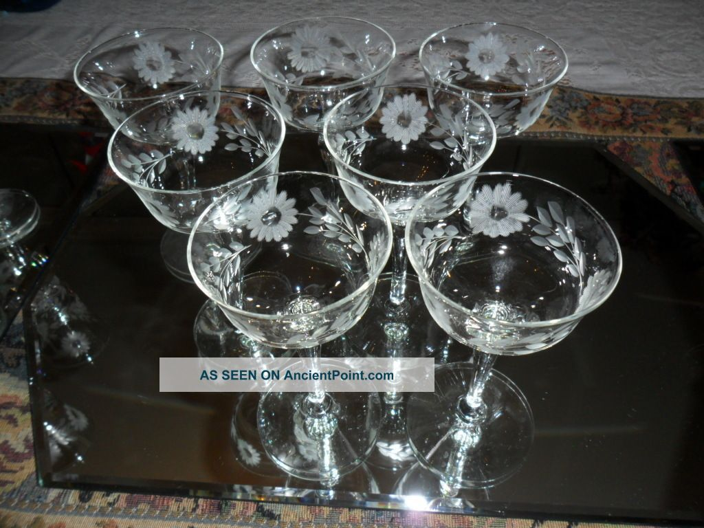 Crystal Stemware Wine Glasses Antique Etched Crystal Stemware Vintage Crystal Etched