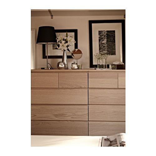 MALM Kommode mit 6 Schubladen - Eichenfurnier weiß lasiert - IKEA - esszimmer kommode ikea