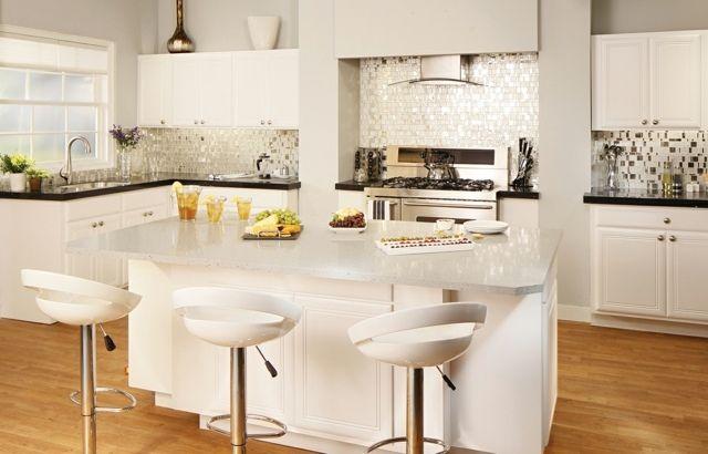 moderne weiiße Mosaik Rückwand Küche gestalten Küche Pinterest - moderne kuche gestalten