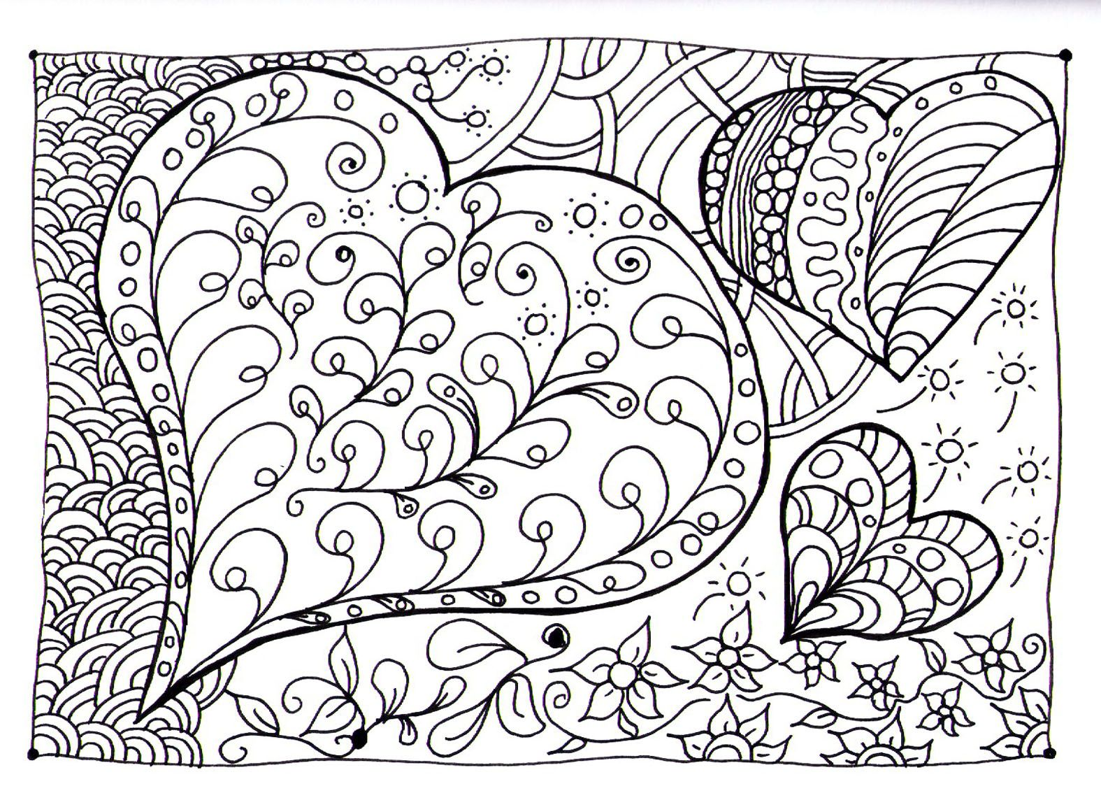 Adult zen anti stress heart zen coloring pages printable and coloring book to print for free find more coloring pages online for kids and adults of adult