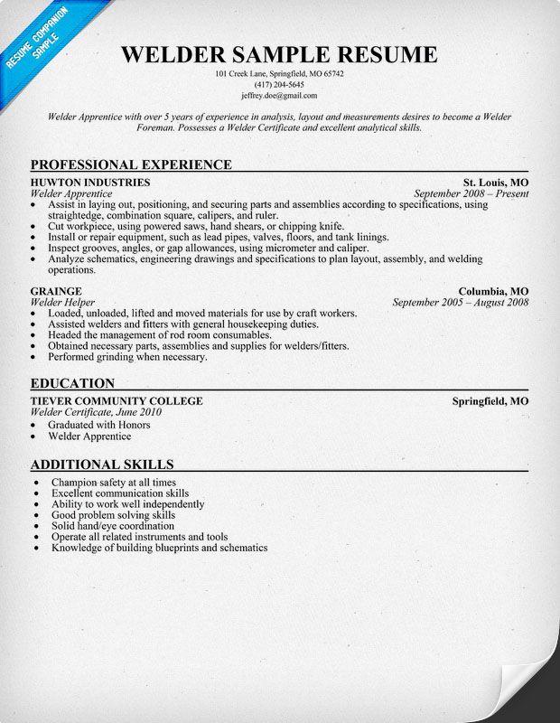 Welder Resume Sample (resumecompanion) #Manufacturing - resume for welder