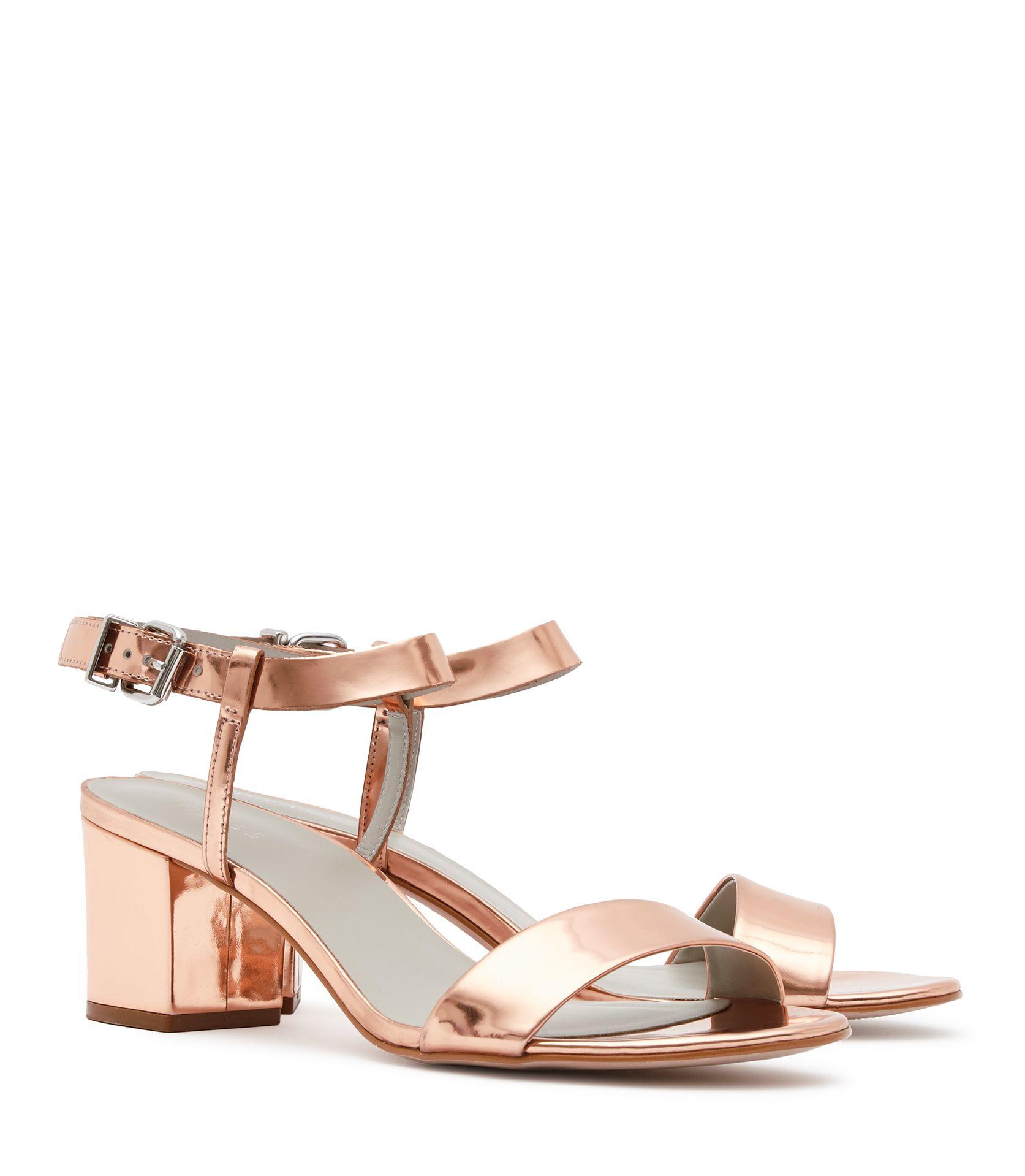 Bag womens rose gold block mid heel sandals