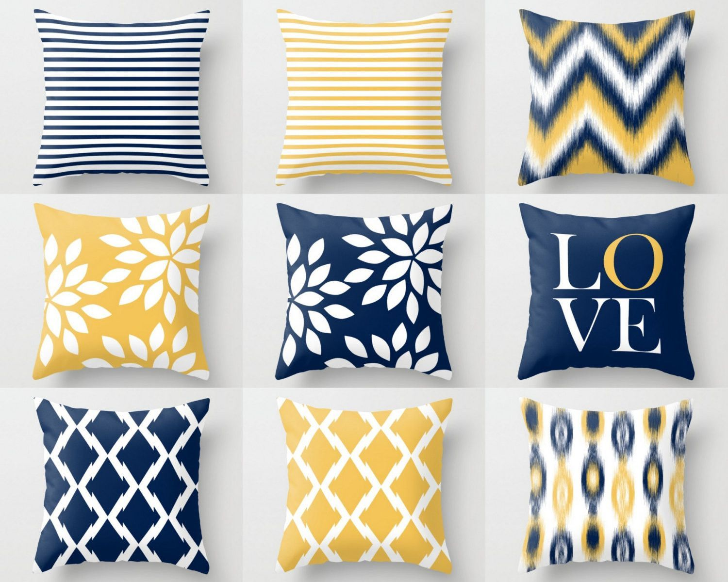 Throw pillow covers navy yellow and white m32 decorative pillows