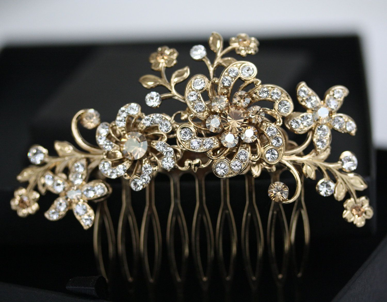 wedding hair pieces Bridal Headpiece Gold Wedding Hair Accessories Golden Shadow Crystal Hair Comb Flower Hair Piece SABINE