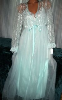 Bridal Mint Green Long Nightgown & Robe Set S M L Chiffon ...