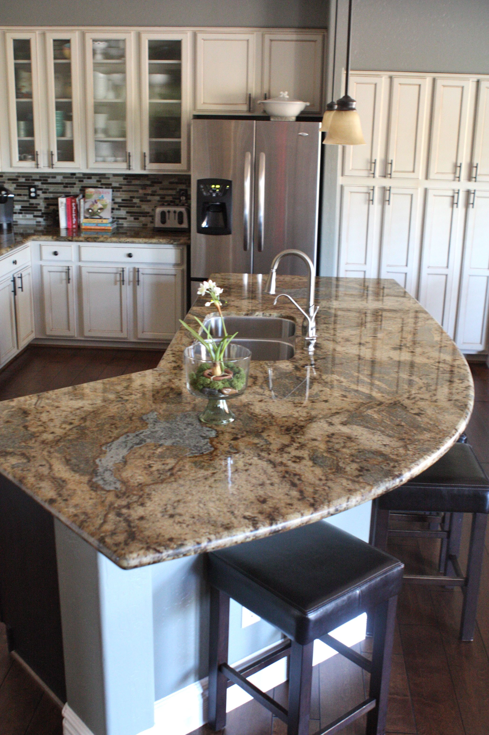 Granite Countertop Shapes My Kitchen With Antiqued Finished Cream Cabinets And