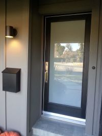 New laminated glass panel front door with lovely hardware ...