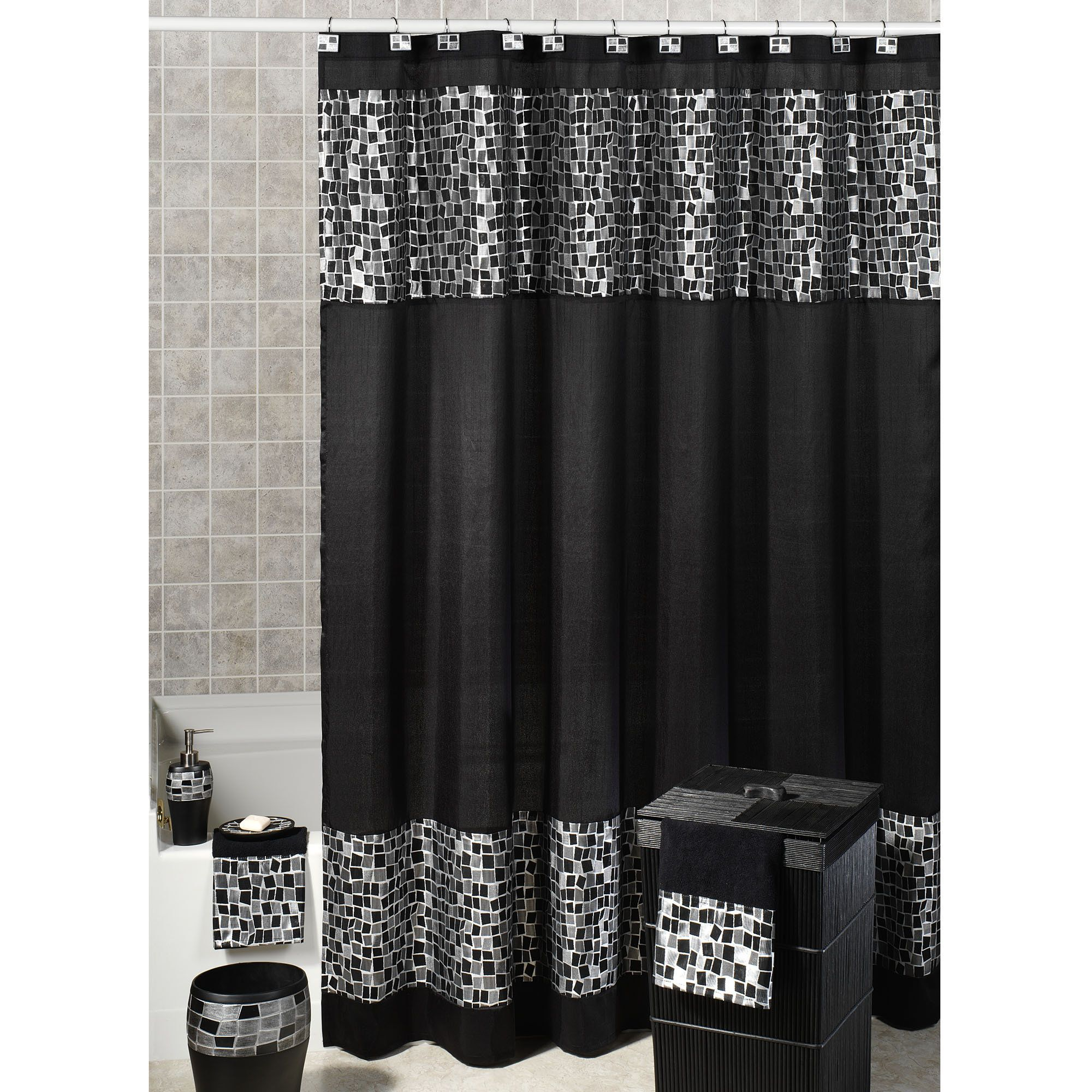 Black and silver shower curtains