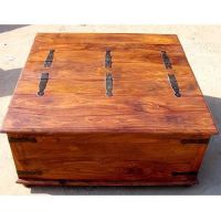 1E. Large Square Storage Chest Trunk Wood Box Coffee Table ...