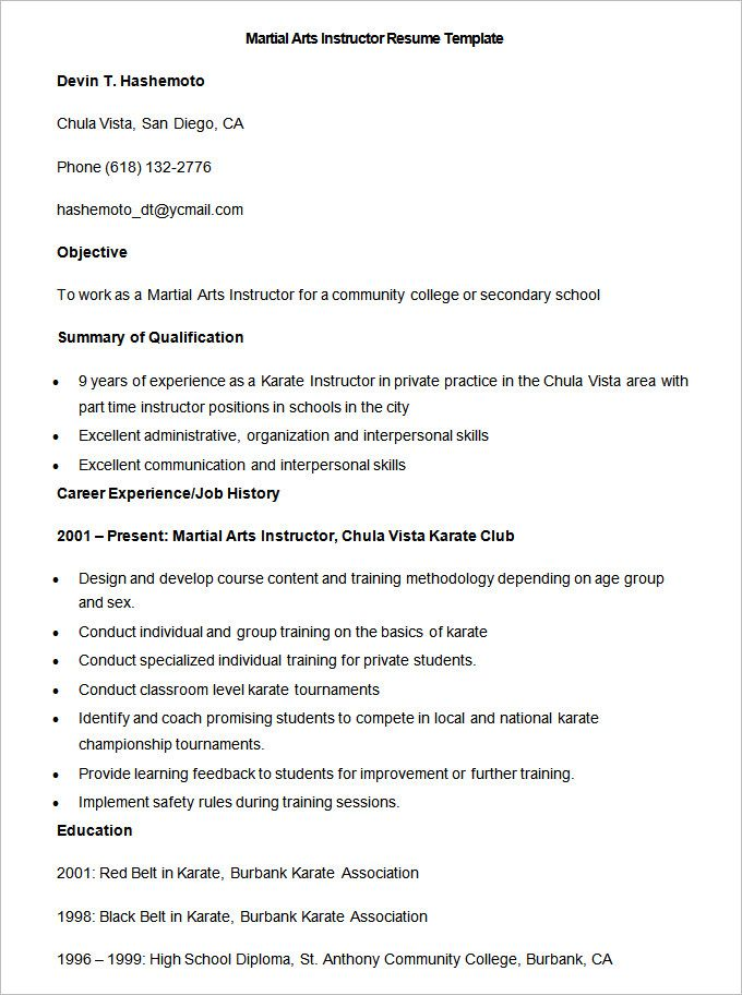 Sample Martial Arts Instructor Resume Template , How to Make a - art teacher resume examples