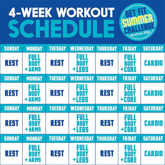 This Is The Only Summer Workout Plan You Need Workout plans - sample workout calendar