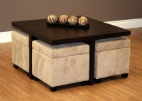 Coffee Table With Stools Underneath | Comfy Ottoman ...