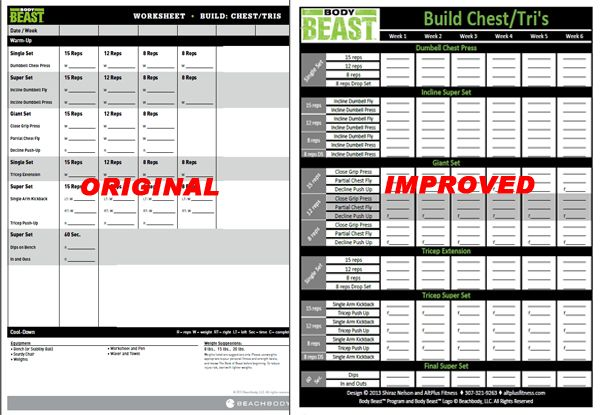 Body Beast Worksheets - New and improved Body Beast workout sheets - beast workout sheet