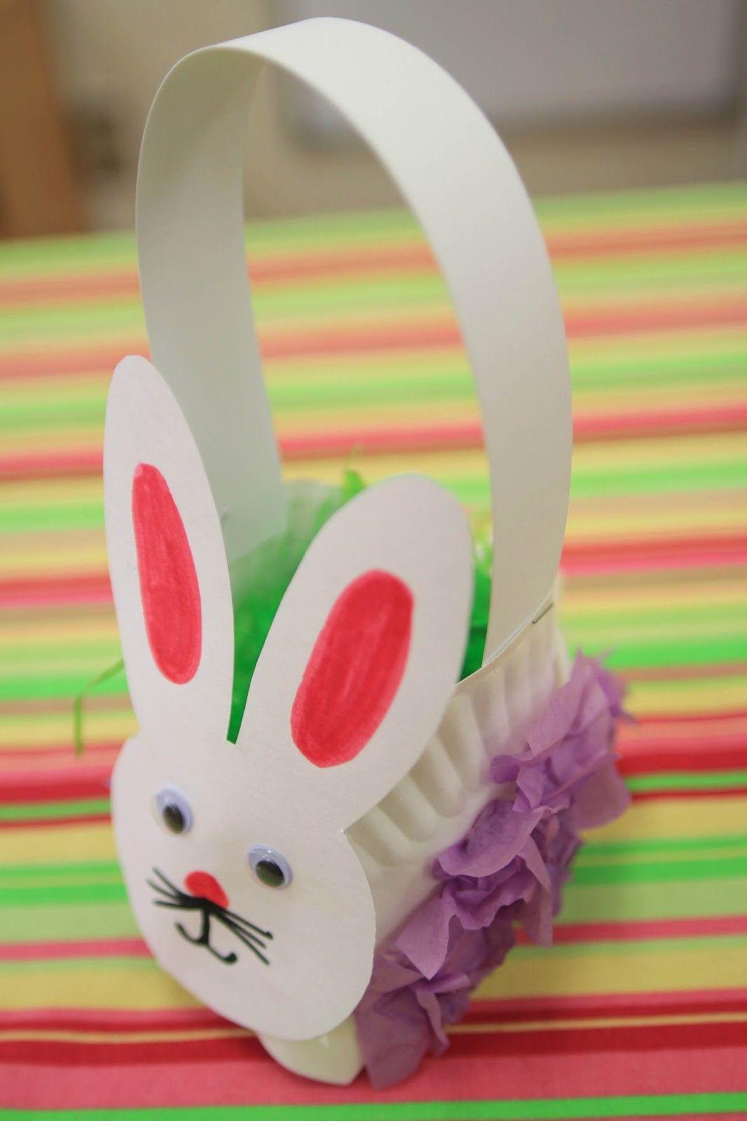 Easter bunny basket paper plate basket easter paper craft ideas 2014 easter