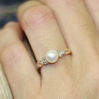 Vintage Inspired Pearl Engagement Ring in 14k Yellow Gold ...