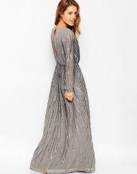 ASOS PETITE Linear Sequin Long Sleeve Maxi Dress UK 10/EU ...