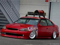 stanced jdm honda civic ek coupe with stickerbomb and roof ...
