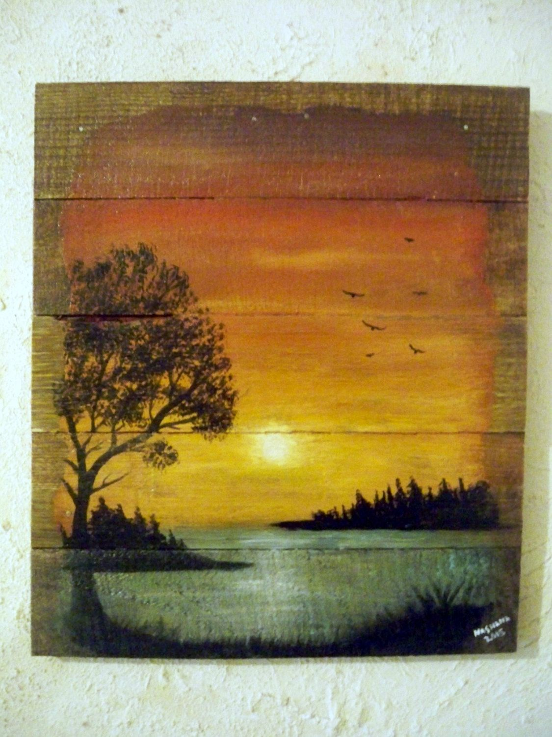 Art Painted On Wood Pallet Wood Painting Landscape Lake Sunset Acrylic On