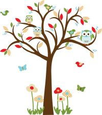 Owl decal, Nursery Decal, Childrens wall Decal, Owl tree ...