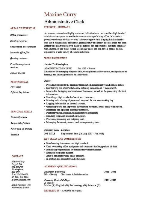 cover letter for clerical job