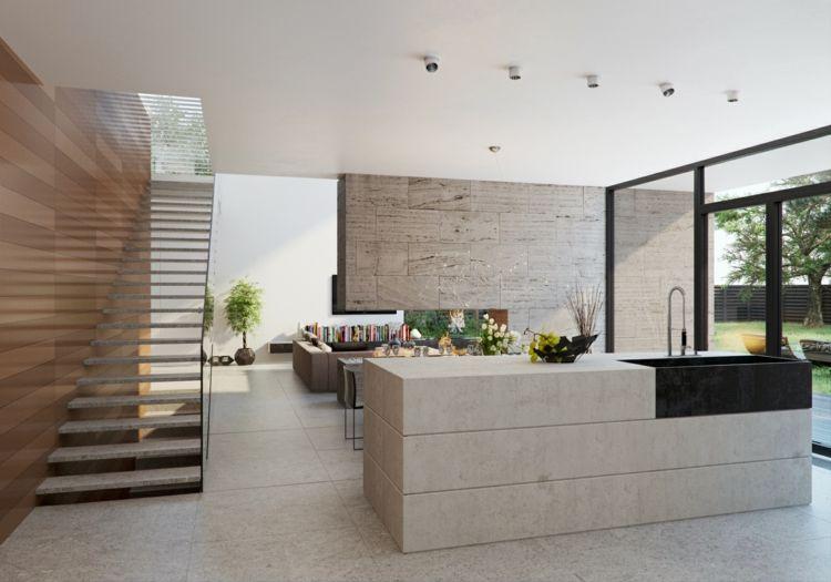 Naturstein In Der Küche   Moderne Optik Für Arbeitsplatte   Die Modernen  Minimalistischen Kuchen Von Zampieri