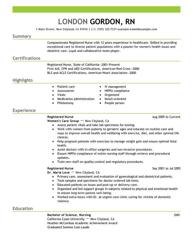 Registered Nurse Resume Sample work Pinterest Nursing resume - nursing resume templates free