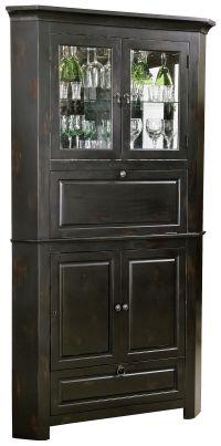 Rustic Corner Bar Cabinet - Distressed Wine & Bar Cabinet ...