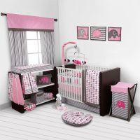 Baby Girl Bedroom Set Nursery Bedding Elephants Pink Grey