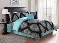 Beautiful Black & Turquoise Teal Blue Comforter Set