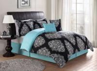 Beautiful Black & Turquoise Teal Blue Comforter Set ...