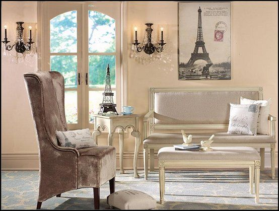 French Country Flea market home decor and posh Paris themed - paris themed living room