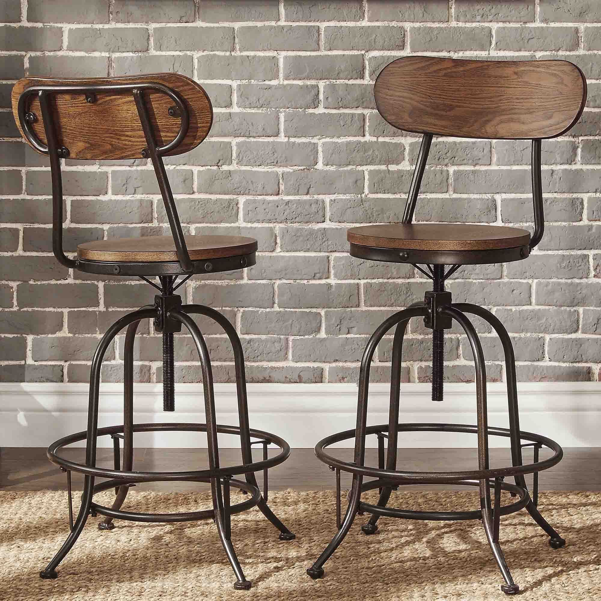 Industrial Counter Height Bar Stools Berwick Iron Industrial Adjustable Counter Height High
